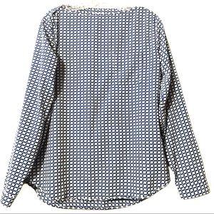 Gap blue white geometric blouse wide neck medium